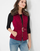 White House Black Market Removable Faux-Fur Collar Quilted Vest