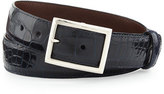 "W.KLEINBERG Glazed Alligator Belt with ""Simple Rec"" Buckle, Navy (Made to Order)"