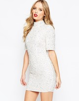 Asos Premium Pearl Scatter Mini Body-Conscious Dress