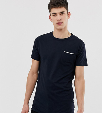 French Connection Tall tipped pocket t-shirt-Navy