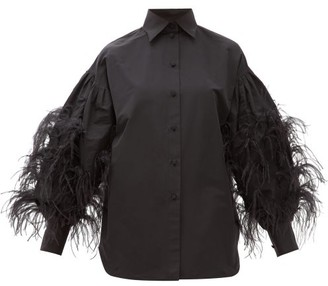 Valentino Feather-trimmed Cotton-blend Shirt - Womens - Black