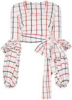 Rosie Assoulin Check Wrap Blouse