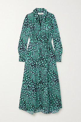 Cefinn Astrid Leopard-print Satin-jacquard Shirt Dress - Green