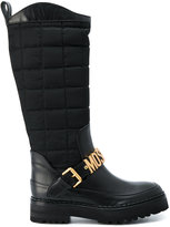 Moschino logo buckle boots