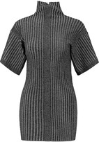 By Malene Birger Metallic ribbed-knit turtleneck top