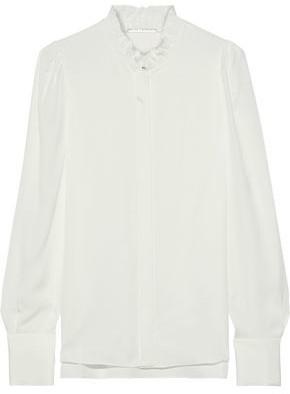 Elie Tahari Ciara Ruffle-trimmed Silk Crepe De Chine Shirt