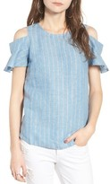 Moon River Women's Stripe Chambray Cold Shoulder Top