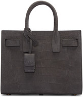 Saint Laurent Grey Croc-Embossed Nano Sac de Jour Tote