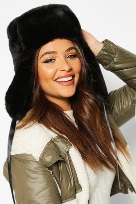 boohoo Faux Fur Trapper Hat