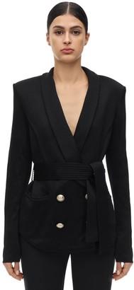 Balmain Oversize Double Breasted Jacket W/ Belt