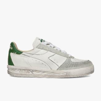 Diadora White Elite Leather Dirty Sneaker - white   leather   38 - White/White