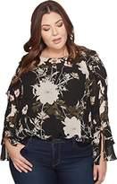 Lucky Brand Women's Plus Size Scoop Back Ruffle Top