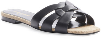 Saint Laurent Tribute Flat Leather Slide Sandals with Rope Footbed