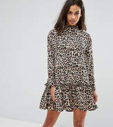 Asos Mini Smock Dress With Pep Hem In Animal Print