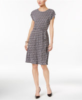 NY Collection Petite Printed Belted A-Line Dress