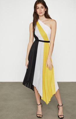 BCBGMAXAZRIA Plisse Colorblock Dress