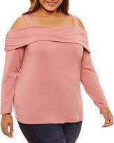 Boutique + + Long Sleeve Off the Shoulder Knit Blouse-Plus