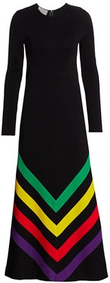 Gucci Long Sleeve Chevron Print Silk Cotton Maxi Dress