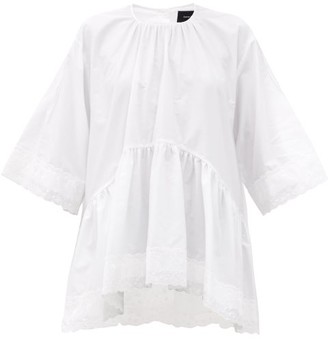 Simone Rocha Scallop-hem Embroidered Cotton-poplin Top - White