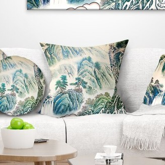 """East Urban Home Floral Chinese Landscape Painting Pillow East Urban Home Size: 16"""" x 16"""", Product Type: Throw Pillow"""