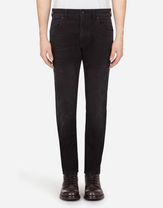 Dolce & Gabbana Washed Black Slim-Fit Stretch Jeans