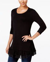 Style&Co. Style & Co. Petite Lace-Inset Layered-Look Sweater, Only at Macy's