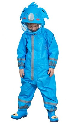 Gagacity Children Boys Girls Waterproof All in one Hooded Rainsuit with 3D Cartoon Shape for Outdoor Play Blue Koala/S