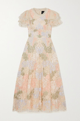 Needle & Thread Elin Blossom Sequin-embellished Embroidered Tulle Midi Dress - Pink