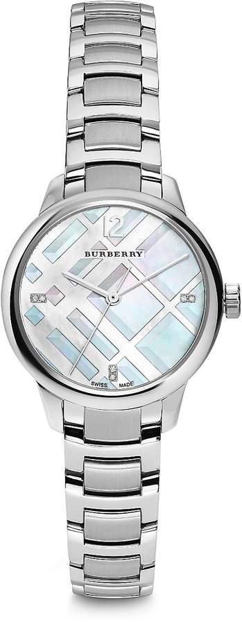 Burberry Women's Diamond, Mother-Of-Pearl & Stainless Steel Bracelet Watch