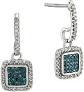FINE JEWELRY 1/3 CT. T.W. White and Color-Enhanced Blue Diamond Sterling Silver Square Drop Earrings