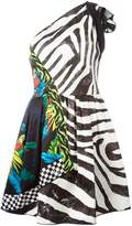 Marc Jacobs multi-pattern one shoulder dress