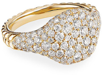 David Yurman Mini Chevron Pave Diamond Pinky Ring in 18k Yellow Gold, Size 3.5