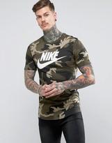 Nike Camo T-shirt With Dropped Hem In Green Aa1196-355