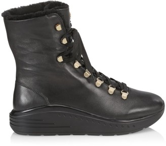 Stuart Weitzman Oceane Lace-Up Shearling-Lined Leather Boots