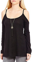 Moa Moa Cold-Shoulder Brushed Hacci Tunic