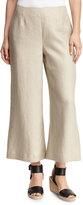 Lafayette 148 New York Wide-Leg Linen Crop Pant, Khaki