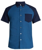 Blue Blue Japan Short-sleeved contrast-panel cotton shirt
