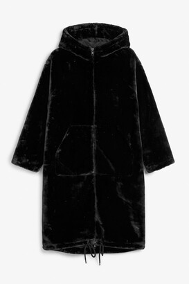 Monki Long faux fur coat