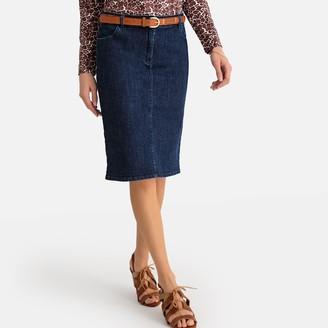 Anne Weyburn Stretch Denim Straight Skirt in Knee-Length with Pockets