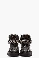 Giuseppe Zanotti Black croc-embossed leather Zulu Sneakers