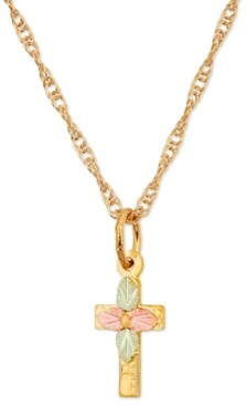 Black Hills Gold Leaf Cross Pendant in 10k Yellow Gold with 12k Rose and Green Gold