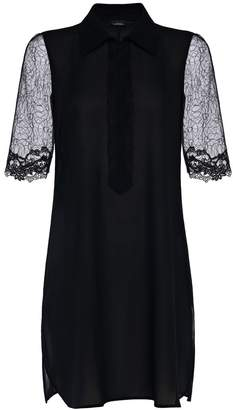 La Perla Liaison Black Silk Nightdress With Embroidered Tulle Sleeves
