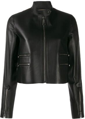 Fendi FF logo leather jacket