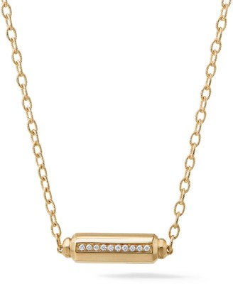 David Yurman Barrels Pave Diamond & 18K Yellow Gold Station Necklace