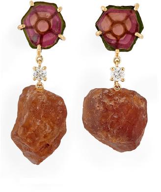 Jan Leslie 18k Bespoke 2-Tier Luxury Earrings w/ Watermelon Tourmaline, Orange Garnet & Diamonds