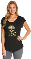 Betsey Johnson Leopard Skull Viscose Wedge Workout Tee 8148952