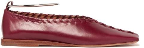 Jil Sander Whipstitched Leather Ballet Flats - Womens - Burgundy