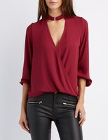 Charlotte Russe Mock Neck Surplice Blouse