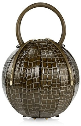 Nita Suri Pilo Croc-Embossed Leather Cage Top Handle Clutch