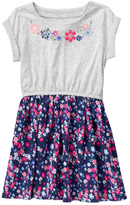 Gymboree Gray & Blue Floral Embroidery-Detail Dress - Girls